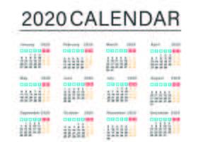 Eenvoudig zakelijk kalendersjabloon vector