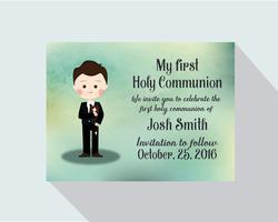 Mijn eerste heilige communiekaart vector