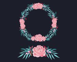 Roze en blauwe bloemen krans vector