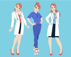Verpleegkundige arts tekens vector