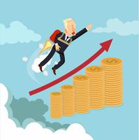 zakenman met raket op de top van munten vector