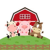 Boerderijdieren cartoon. Koevarken en paard in het landbouwbedrijf.