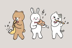 Leuke cartoon terug naar school dieren spelen muziek in de klas