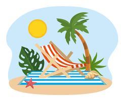 Ligstoel met palmbomen op handdoek