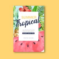 Zomer tropische aquarel poster