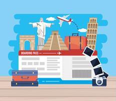 Vliegtuigtickets met bezienswaardigheden met camera vector