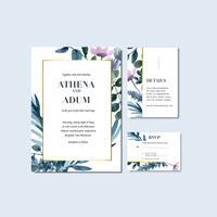 Tropische bloemen bruiloft uitnodiging en RSVP-kaartcollectie vector