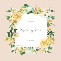 Lente bloemen frame uitnodiging