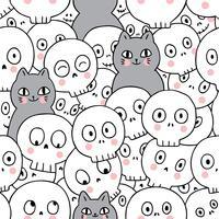 Katten en skelet naadloos patroon vector