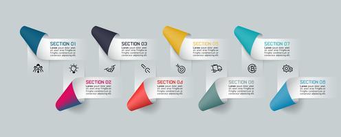 Infographics met papieren lintlabels en 8 processen