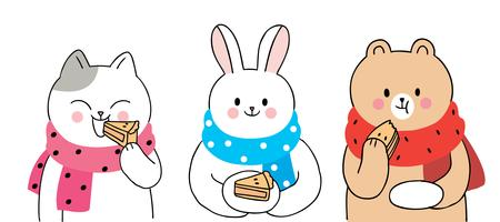 Herfst, kat en konijn en beer eten taart vector