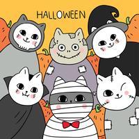 Halloween, mama en vampier en zombie en spookkat