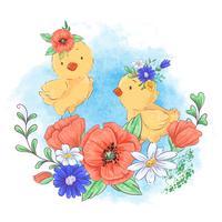 Cartoon illustratie van een schattige kip in een krans van rode bloemen.