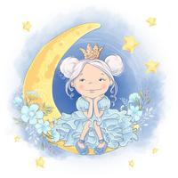 Leuke cartoonprinses op de maan met een glanzende kroon en maanbloemen.