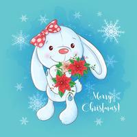 Kerstkaart met cartoon konijntje en een boeket van poinsettia