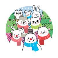 Kerstmis, dieren en cadeau en kerstboom