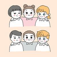 Cartoon schattig terug naar school jongens en meisjes met armen om elkaar heen