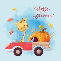 Wenskaart cute cartoon giraffe op een vrachtwagen met pompoen en herfst fruit