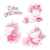 Cute Cartoon Unicorn ingesteld op een aquarel achtergrond