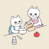 terug naar school kat ontbijt eten
