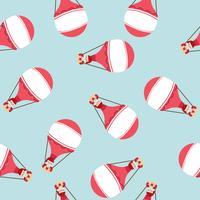 hete luchtballon met Santa Claus-patroon vector