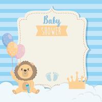 Kaart van de baby douche met leeuw met ballonnen vector