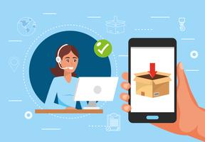 Vrouwelijke call centrevertegenwoordiger en smartphone met pakket op vertoning vector
