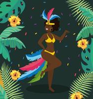 Vrouwelijke carnaval-danser in kostuum met planten en bloemen vector