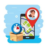 Smartphone GPS-locatietracking met callcentermedewerker vector