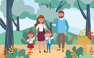 Moeder en vader met kinderen die naar school gaan