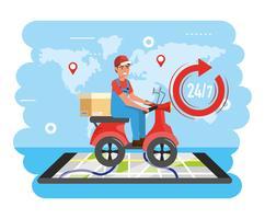 Levering man op scooter met pakket met smartphone kaart vector