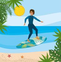 Mens in wetsuit op surfplank in oceaan vector