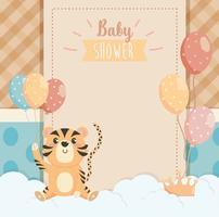 Kaart van de baby douche met tijger bedrijf ballonnen vector