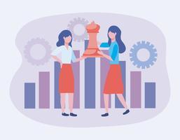 Vrouwelijke ondernemers met koningin schaakstuk en versnellingen vector