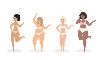 Set van diverse vrouwen in onderkleding vector