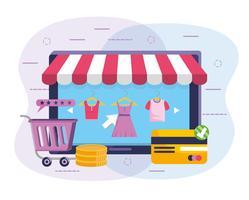 Tablet online winkelen met gestreepte voortent en winkelwagen