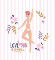 Vrouw met rood haar in kledingassortiment met liefde je lichaam bericht vector