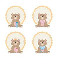 Set teddybeer etiketten vector