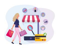 Vrouw die online met smartphone en kleinhandelspictogrammen winkelt
