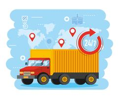 Vrachtwagentransport met 24-symbool en globale kaart vector