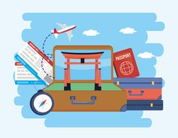 Koffer met Tokyo sculptuur en koffers met paspoort vector