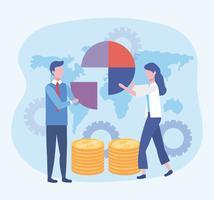 Zakenman en zakelijke vrouw met diagram en munten