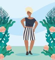 Afrikaanse Amerikaanse vrouw in vrijetijdskleding