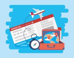 Vliegtuigkaartje met koffer en bol vector
