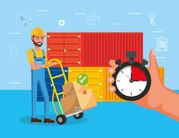 Man met steekwagen in de buurt van containers vector