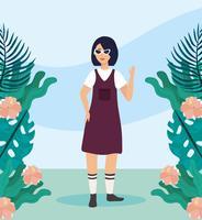Jonge Aziatische vrouwen met zonnebril met bloemen en planten vector