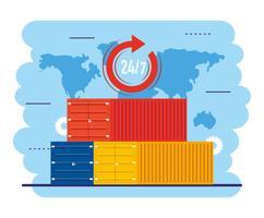 Verzendcontainers met 24-uurs symbool vector