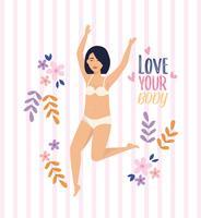Aziatische vrouw in onderkleding met liefde je lichaam bericht vector