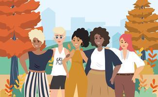Groep jonge vrouwen samen in park