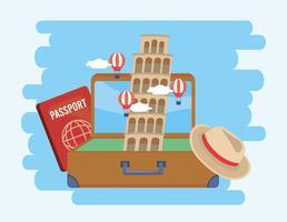 Leunende toren van Pisa in koffer met paspoort